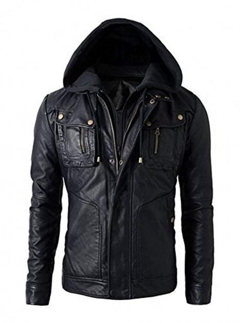 Biker Real Leather Hoodie Jacket Military Grade Men's Motorcycle Jacket