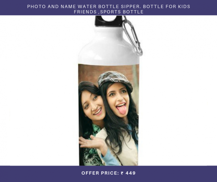 Exciting Lives Personalised Water Bottle Photo And Name Water Bottle Sipper. Bottle For Kids Friends ,Sports Bottle
