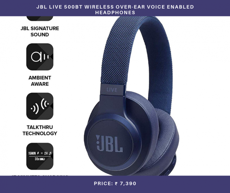 JBL Live 500BT Wireless Over-Ear Voice Enabled Headphones