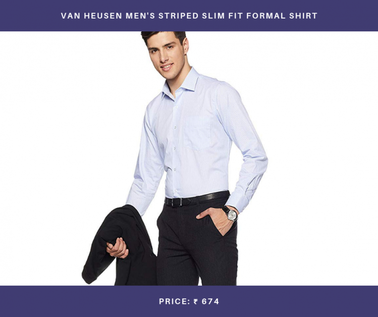 Van Heusen Men's Striped Slim Fit Formal Shirt